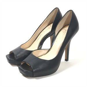 Jessica Simpson Black Leather Josette D'Orsay Heel
